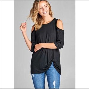 Cold-shoulder front knot shirt. Small.
